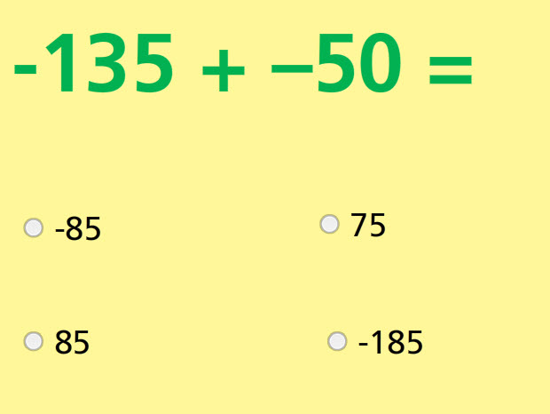 Add and Subtract Integers Math Test