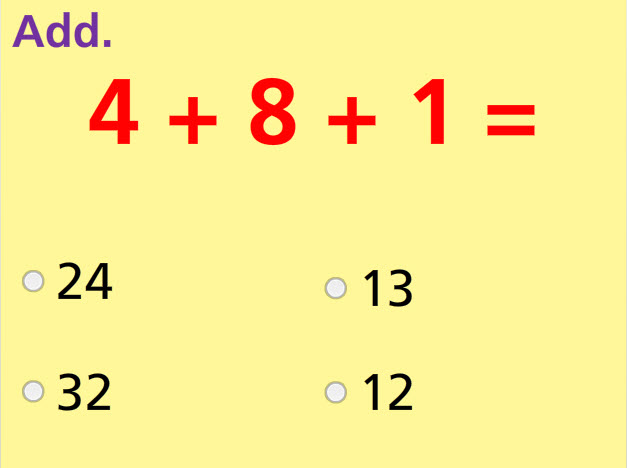 Add Three Numbers Math Test