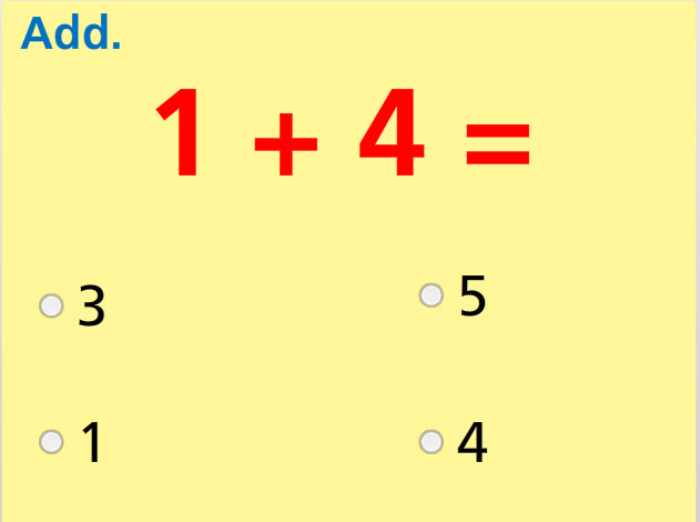 Add Two Numbers- Sums to 5 Math Test