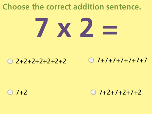 Addition and Multiplication Connection Math Test