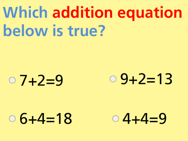 Addition Equations Math Test