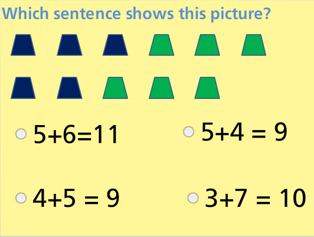Addition Sentences for Pictures Math Test