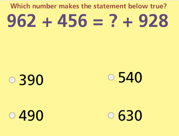 Balance Addition Equations up to 3 Digits Math Test