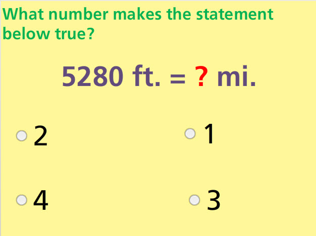 Convert Customary Units Math Test