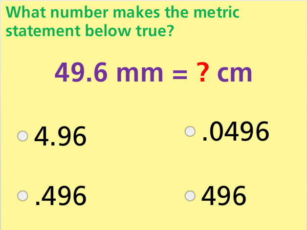 Convert Metric Units Math Test