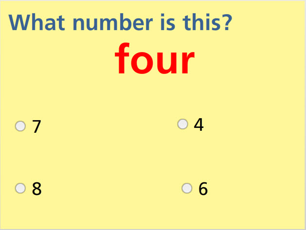 Name Numbers- up to 10 Math Test