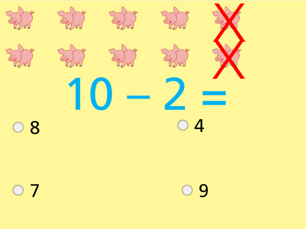 Subtract with Pictures Numbers up to 10 Math Test