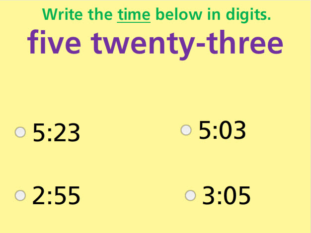 Write Time in Digits Math Test